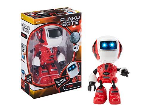 Funky Bots TOBI, Kleiner Roboter zum Spielen und Liebhaben, mit lustigen Sounds Mini Roboterfigur aus Metall, rot ()