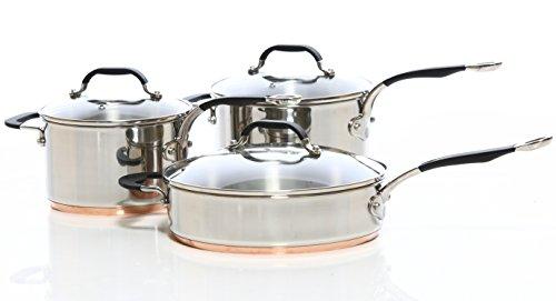 ProWare Copper Base Cookware Set of 3 (18cm, 20cm saucepans 26cm Saute)