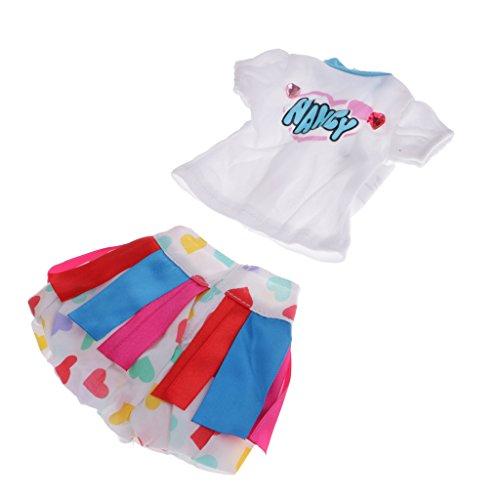 Homyl Dulce Camiseta de Manga Corta + Falda de Moda para 16 Pulgadas Muñeca de Salón