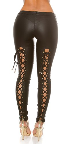 Extravagante KouCla Lederlook Hose mit Schnürung - Wetlook Pants Skinny Lederhose - Schwarz Cappuccino Gr. XS - L (XS, Schwarz)