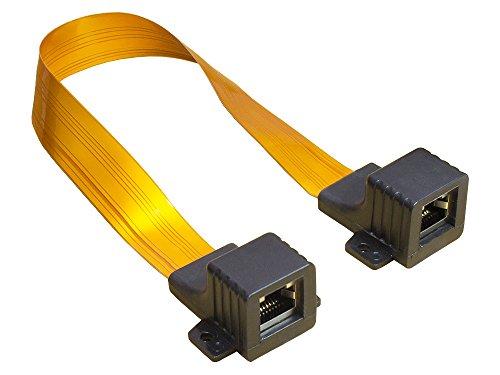 Good Connections RJ45 Ethernet LAN Tür-/Fensterdurchführung - High-Quality, extrem flach - beidseitig RJ45-Buchse - Gesamtlänge inkl. Stecker 25 cm, flexible Länge 18 cm