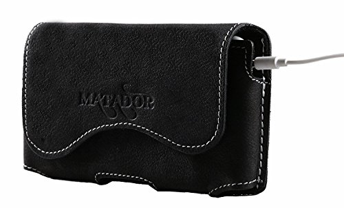 MATADOR Lederhülle Ledertasche Ledercase Handytasche Gürteltasche kompatibel mit iPhone 5 5S 5C SE Schwarz (- 4s Iphone Gürtel-clip-fall)
