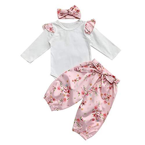 iderset,Strampler Herbst Babyklamotten Babybodys Langarm Jumpsuit+Blumendruck Lange Hosen +Bowknot Stirnbänder Mädchen Halloween Bekleidunsets Outfits ()