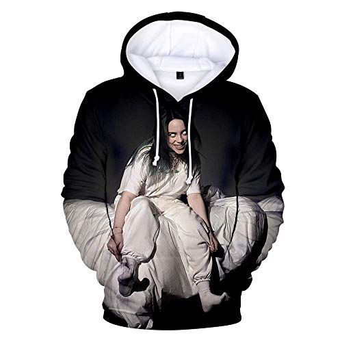 ex Song Singer Theme Sweatshirt Youth Long Sleeve Hoodie Pullover Pullover Casual Couple Top, Billie Eilish, 3XL ()