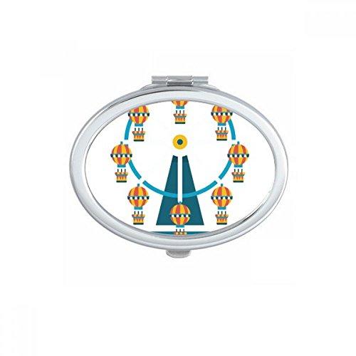DIYthinker Incroyable Funny Park Carousel Illustration Ovale Miroir de Maquillage Compact Portable Mignon Miroirs de Poche à la Main Cadeau Multicolor