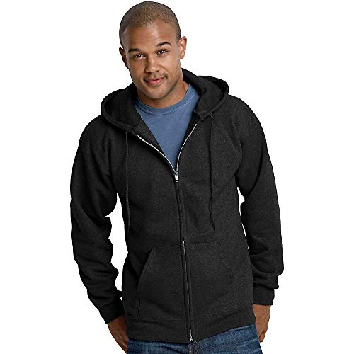 Hanes Ultimate Cotton Full-Zip Fleece Hood 10 Oz Sweatshirt, Black, S -