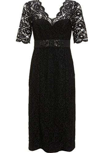ivyd ressing robe fabuleuses robe courte aermel dentelle ligne Étui perles party prom Lave-vaisselle robe robe du soir Schwarz