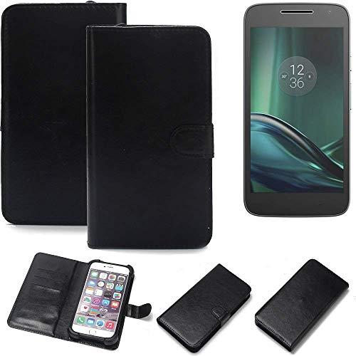 K-S-Trade 360° Wallet Case Handyhülle für Lenovo Moto G (4. Gen.) Play Schutz Hülle Smartphone Flip Cover Flipstyle Tasche Schutzhülle Flipcover Slim Bumper schwarz, 1x