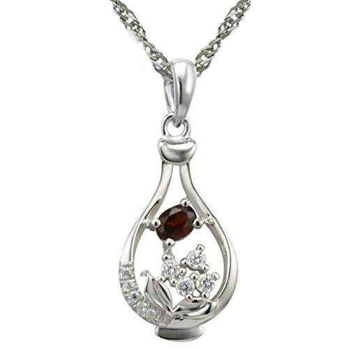 BeyDoDo Modeschmuck Damen Halskette mit Anhänger Sterling Silber Hohl Vase Zirkonia Silber Rot Kette (2 Glas Quadrat Vase)