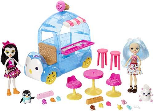 Enchantimals Heladería de Preena Penguin y Pawbry Polar Bear, muñeca con mascotas y accesorios (Mattel FRT96)