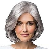GWM Tocado Mullido Natural de la Peluca del Gris Plateado, Conveniente para los Ancianos convenientes para Jugar Femenino del Papel del Partido
