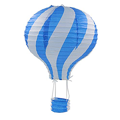 AchidistviQ 30 cm Gestreifte Heißluftballon-Papierlaterne für Kindergeburtstag Party Hochzeit Dekoration blau