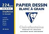 Clairefontaine 96156C - Un pochette Dessin à Grain blanc 12 feuilles 21x29,7 cm 224g