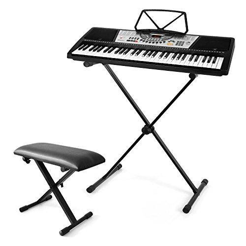 Keyboard-Set Keybiza Ibiza MEK6100 Keyboard (100 Klangfarben & Rhytmen, 8 Drums) inkl. Ständer und Klavierbank