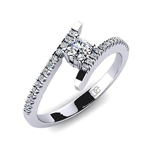 Moncoeur Silberring Desir + Silberringe Swarovski Zirkonia Stein + Verlobungsring Silber für Damen Frauen Freundin + Verlobungsringe Silber + Diamantringe +...