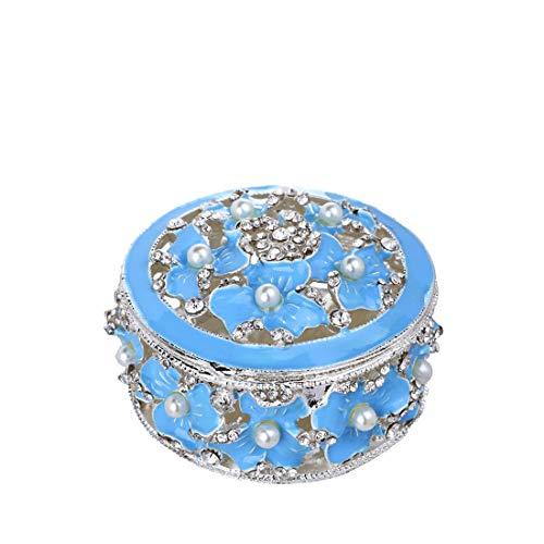 YU FENG Klapp Schmuckschachtel Ehering Halter Metall Muschel Figur für Ring Display (Tiffany Blue Box)