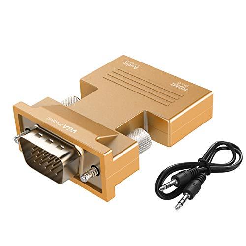 Urbetter HDMI-auf-VGA-Adapter, 1080P HDMI-Buchse auf VGA-Stecker, Adapter Dongle mit 3,5 mm Stereo-Audiokabel für Laptop, PC, Ultrabook, Monitor, Projektor, DVD- und TV-Box