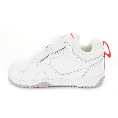 Nike Lykin 11 (Tdv), Baskets Basses Fille Blanc / Orange / Gris (White / Bright Crimson-Wolf Grey)