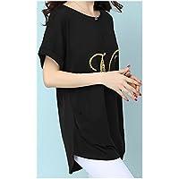 TAIDUJUEDINGYIQIE Camiseta de Manga Corta para Mujer Suelta Largo Medio Verano Nuevo, Negro, 4XL