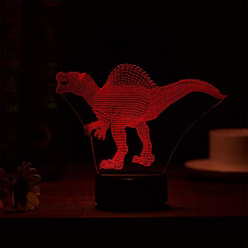 Luckhome Dinosaur 3D Night Light Table Desk Lamp 7 Colors 3D Optical Illusion Lights  High Version  Dinosaur