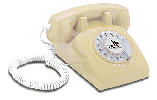 Opis 60s Cable mit Opis Logo - Retro Telefon im sechziger Jahre Vintage Design mit Wählscheibe und Metallklingel (beige)