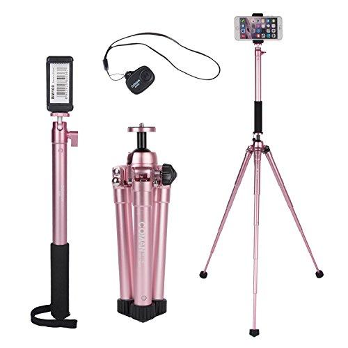 Portatile Kit Treppiede per Asta Incluso E300L Extension Selfie Stick e MT50 Mini Treppiede, Con Supporti per Telefono e Telecomando Bluetooth per Smartphone, DSLR e Fotocamera Mirrorless (Oro Rosa)