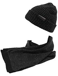 GIANMARCO VENTURI Set sciarpa e cappello uomo 100% acrilico in box 71800  nero 986ddb90abb7