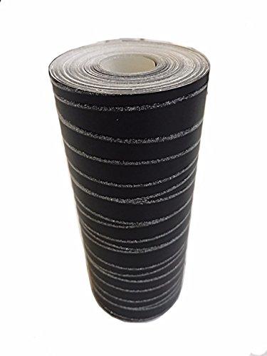 Schwarz und Silber–Glitzer–Tapete Bordüre–10Meter lang x 17cm breit