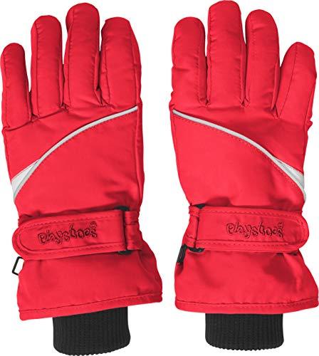 Playshoes Kinder Schnee-Handschuhe mit Thinsulate-Technik Finger Unisex Fingerhandschuhe mit Klettverschluss, rot, 5