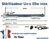 Oz Water Stérilisateur UV-c INOX 55w 12GPM pour Traitement de l'eau de 50 litres/Minute entrée Sortie 1 Pouce 32 mm