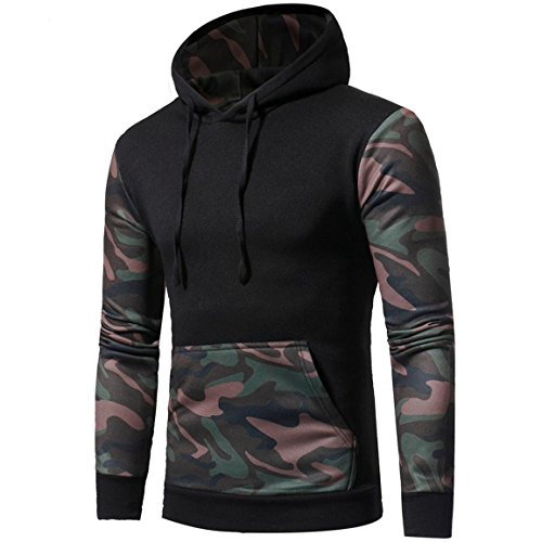 Herren Tarnmantel,Moonuy Männer Camouflage Langarm Print Kapuzen-Sweatshirt Tops Jacke Mantel mit Kapuze Charme schlank Herbst, Winter Hot Outwear (Schwarz, L) (Adidas Sweatshirt Print)