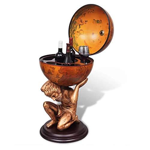 UBAYMAX Mueble Bar Bola, Mueble Bar en Forma de Globo Terráqueo Estante de Botellas, Botellero de Madera del Mundo diseño Atlas Decoración, 4 Compartimentos, 42x42x85 cm