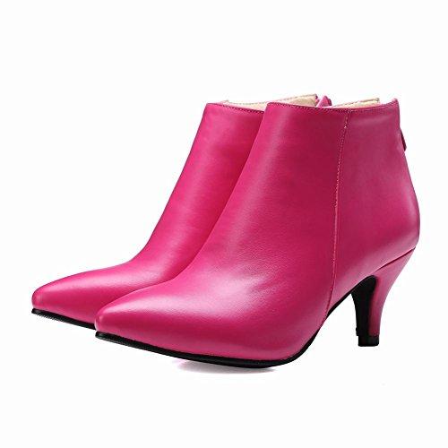 Mee Shoes Damen Reißverschluss high heels spitz Ankle Boots Rosarot