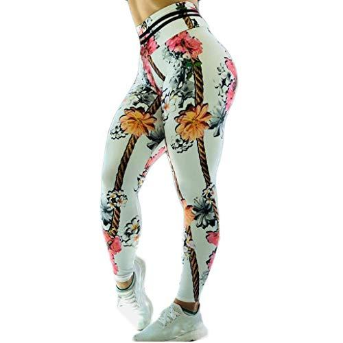 ZHANSANFM Damen Sport Leggings Tights Blumendruck Blickdichte Yogahose Stretch Atmungsaktiv Hose High Waist Slim Fit Sporthose Fitness Laufen Yoga Athletic Jogginghose Mode (S, Weiß)
