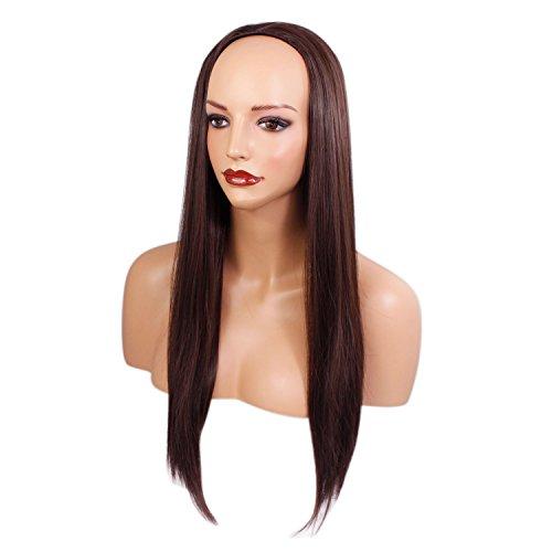 Elegant Hair - 56 cm – pour dames 3/4 Perruque Cheveux raides - Brun moyen #6 - Demi tombé clip-in – pièce de extension de cheveux - 250g