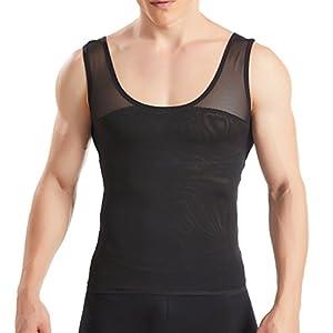 HANERDUN Kompressionsunterwäsche Tank Top Herren | Bauchweg Body Shaper Figurformendes Unterhemd für Männer | Sport Fitness Bodyshaper