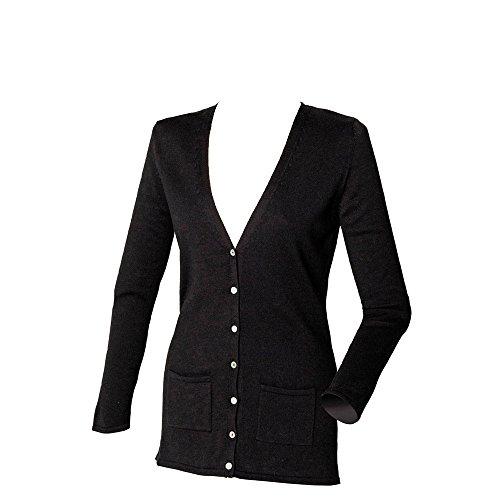 Henbury Womens V Neck Cotton Button Cardigan Black