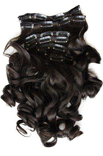 PRETTYSHOP XXL 8 Teile Set Clip in Extensions 50cm Haarverlängerung Haarteil hitzebeständig gewellt dunkelbraun #4 CES102-1