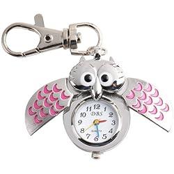 UNIQUEBELLA Silver Pendant Pocket Key Ring Cool Owl Quartz Watch, Stainless Steel Case Cute Pocket Watch