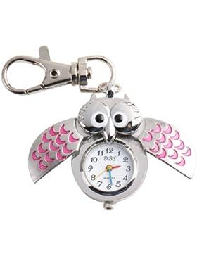Yesurprise Silbrig Pink Eule Anhänger Quarz Uhr Taschenuhr Damen Kinder Uhr Geschenk Xmas Gift Watch