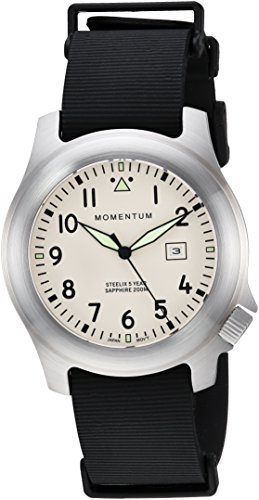 Momentum Men's Quartz Stainless Steel and Rubber Casual Watch, Color:Black (Model: 1M-SP74IS11B)