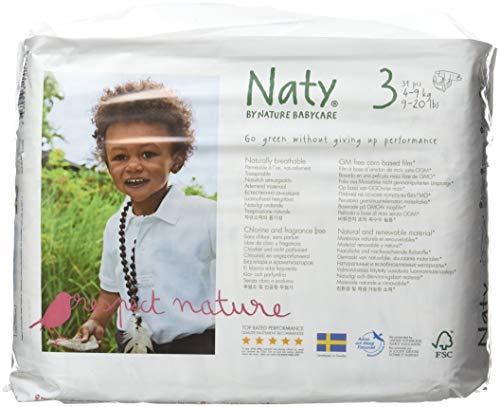 Naty von Natur Babycare ECO Windeln - Größe 3, 4 x Packungen mit 31 (124 Windeln)