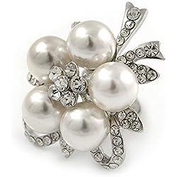 Diamante simulado perla margarita cóctel Anillo en Metal chapado en rodio–45mm D–7/8de tamaño ajustable