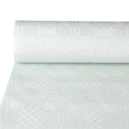 Papstar Papiertischtuch/Tischtuchrolle mit Damastprägung weiß (1 Stück), 50 x 0.8 m, einfach zuschneidbar, für Haushalt, Events, Outdoor-Party, Gartenfest, 12545