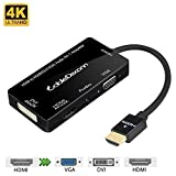 CableDeconn Multiport 4-in-1 HDMI to HDMI DVI 4K VGA Adapter Cable with Audio Output Converter (Black)