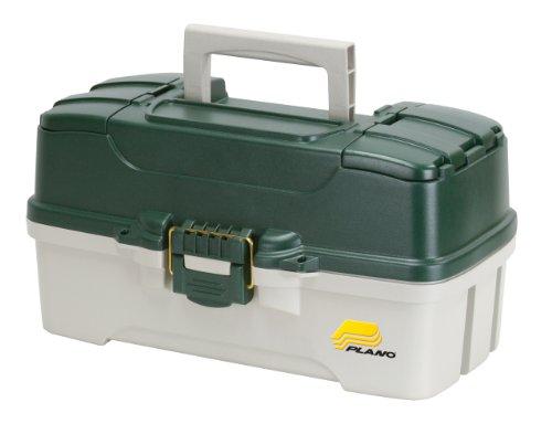 Plano 3-Tray Tackle Box mit Dual Top Zugriff, dunkelgrün metallic/aus weiß - Dual-tray Storage