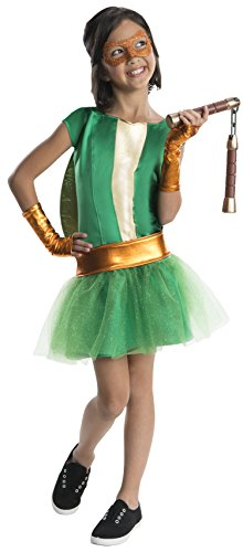 Teenage Mutant Ninja Turtles Michelangelo Kostüm Mädchen deluxe (Mädchen Ninja Turtle Kostüme)