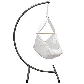 DuneDesign Hamaca para Bebé aprox 70x36x94cm sillón colgante para recién nacidos 100% algodón blanco con barra de madera peso max soportado 15Kg + Soporte de acero plateado approx 100x100x170cm