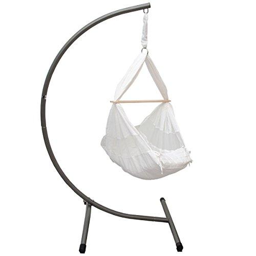 12806 Kinderhängemattengestell Weiß Belastbarkeit: max. 15kg Maße Gestell: ca. 100x80x170cm, Hängematte + Kissen aus hautfreundlichem Baumwollstoff, sanfter Schaukelspaß