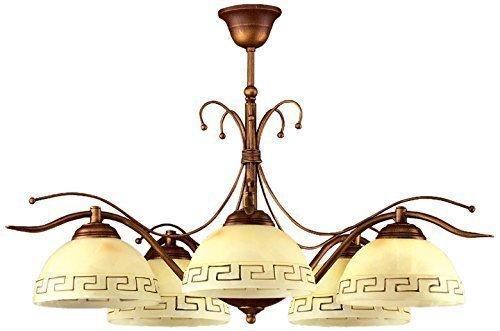 Edle Deckenleuchte Mediterranen Stil 5-flammig Deckenlampe griechisch Glas / Lampe Leuchte für Innen (Griechische Lampe)